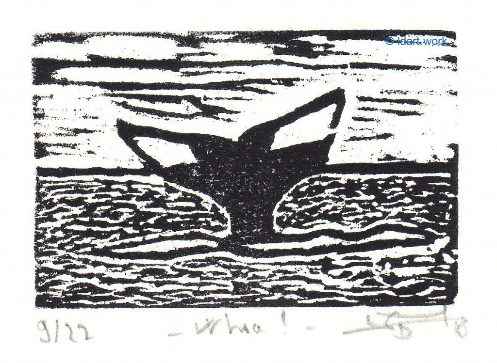 woodcut of a whale